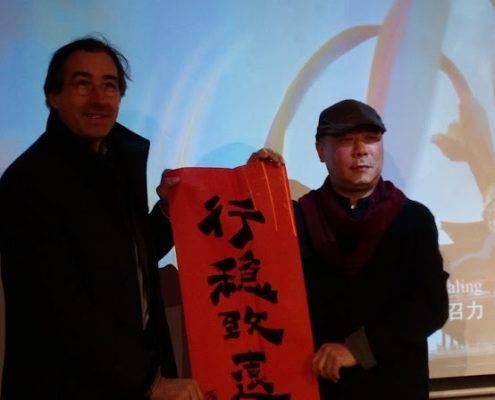 Der chenesische Künstler Wang Ben und Schiffseigner Felix Eisenhardt