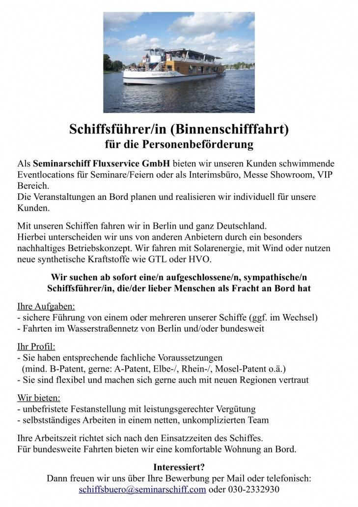 Stellenanzeige Schiffsführer-in
